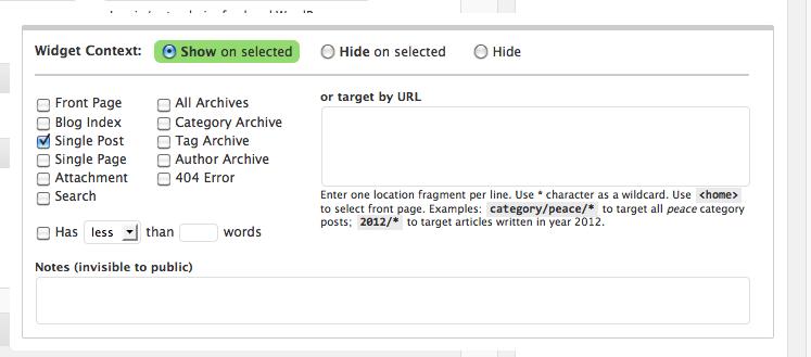 Wordpress Widget on Specific Pages