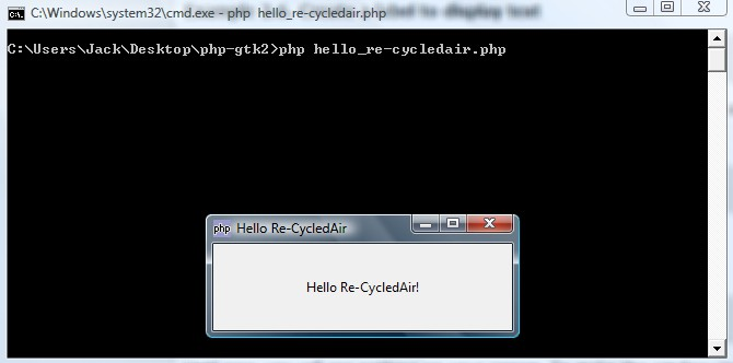 Hello World PHP-GTK
