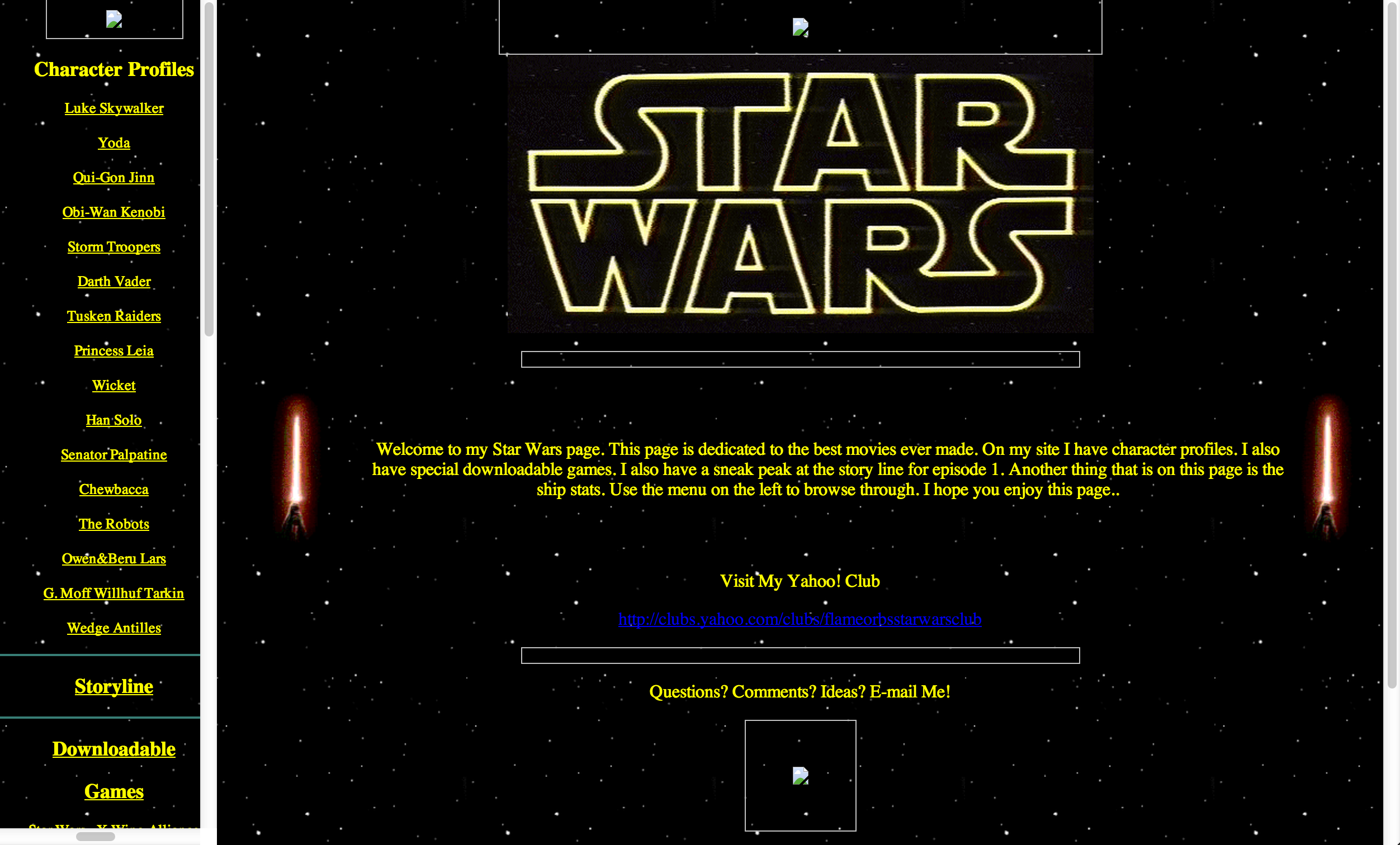 Star Wars Restoration: Main site with background