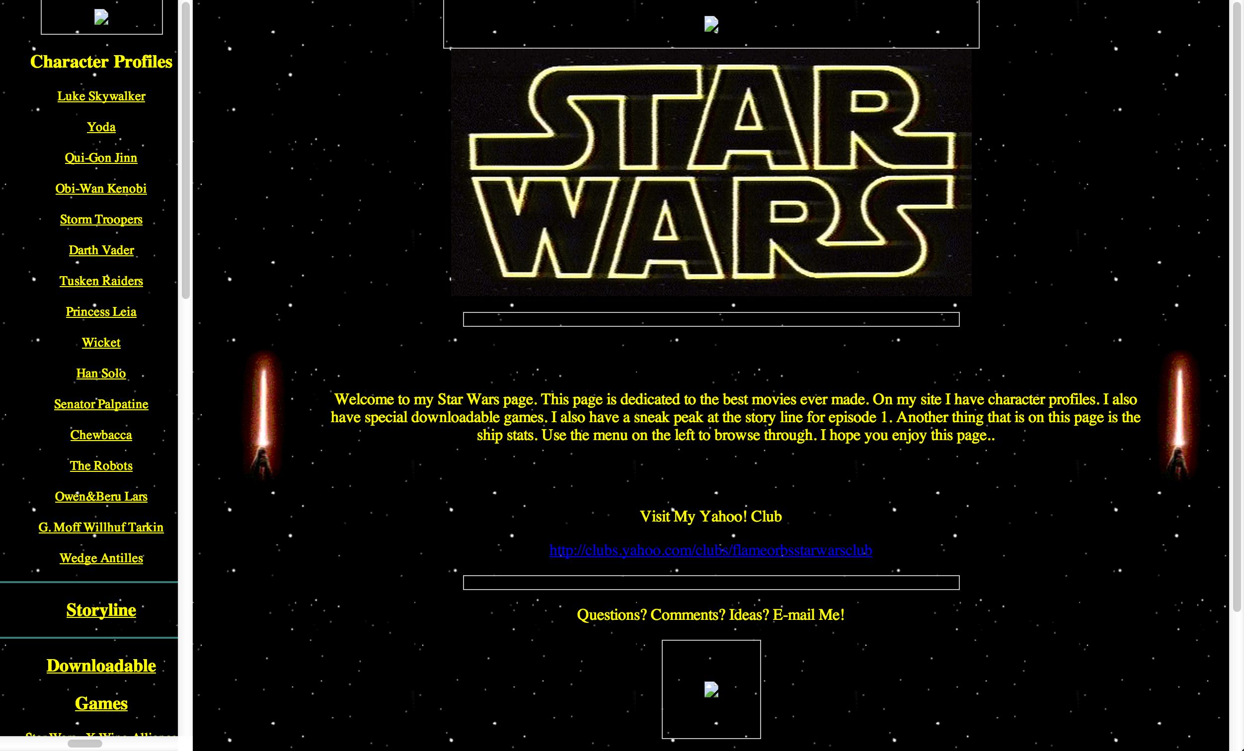 Star Wars Restoration: Main site with background