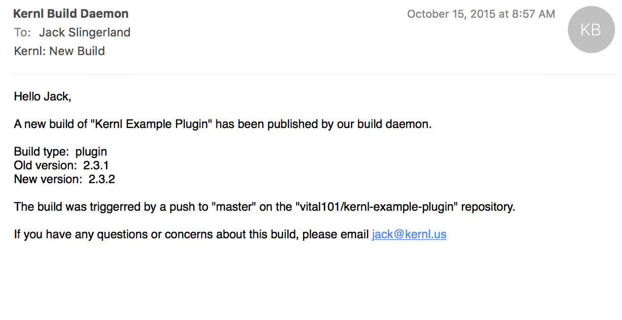 Plugin build email
